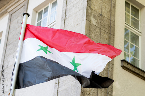 Syrian Flag Waving Horizontal Tricolour Of Red White And Black
