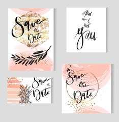 Set of perfect wedding templates in golden,pastel,black and white colors.Ideal for Save The Date, baby shower,mothers day,bridge,valentines day, birthday cards,invitations.Vector lettering.