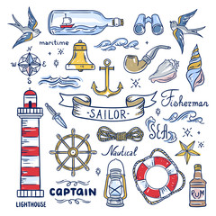 Sailor hand drawn elements. Nautical illustrations: lighthouse, sea waves, captain objects, seashells