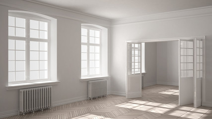 Empty room with parquet floor, big windows, doors and radiators, white interior design