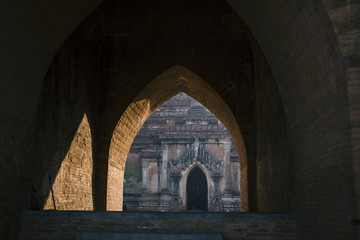 inside an old temple in Bagan