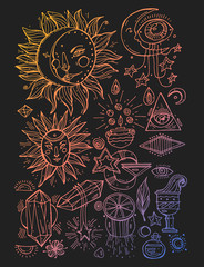 Vector set of magical and alchemy signs and symbols in trendy linear style - tattoo concepts and logo design elements