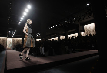 A model displays a creation from Marni's  Autumn/Winter 2013 collection at Milan Fashion Week