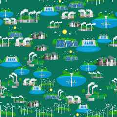 seamless pattern alternative energy green power, environment save, renewable turbine energy, wind and solar ecology electricity, ecological industry vector illustration