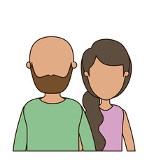 colorful caricature faceless front view half body couple woman with ponytail side hair and bearded bald man vector illustration