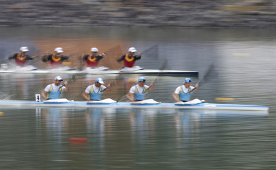 Kazakhstan race ahead of China as they compete in men's kayak four (K4) 1000m final sprint event at the Hanam Misari Canoe/Kayak Centre, during the 17th Asian Games in Incheon