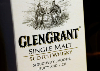A bottle of single malt scotch whisky Glen Grant is pictured in a shop near Lausanne