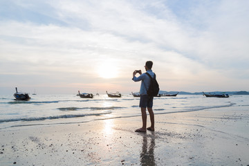 Man Beach Summer Vacation, Young Guy Take Photo Sunset Back Rear View Sea Ocean Holiday Travel