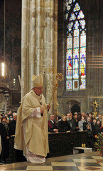 Archbishop Duka arrives to attend a mass commemorating the 700th anniversary of the wedding between the King John of Luxembourg and Elisabeth of Bohemia at the St.Vitus Cathedral in Prague