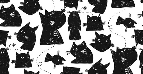 Animal hand drawn seamless vector pattern of cat silhouettes.Design elements for home decor,sign,halloween background,greeting cards,poster,logo,font,party.