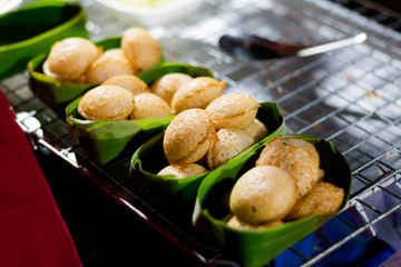Thai fresh fried coconut cakes