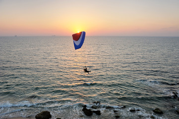 Powered paraglider flying