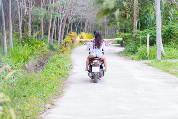 Couple Riding Motorcycle, Young Man Woman Tourist Travel Bike Tropical Forest Exotic Vacation Summer Holiday