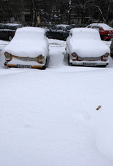 Vehicles are covered with snow in Bucharest