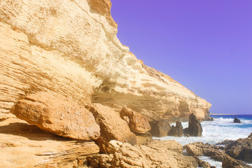 Seashore Waves and Mountain under the Sunshine in Matrouh, Egypt / View of Beautiful Seashore Waves and Majestic Mountain under the Sunshine in Matrouh, Egypt