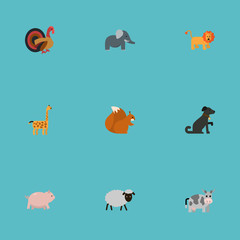 Flat Mutton, Piggy, Animal And Other Vector Elements. Set Of Beast Flat Symbols Also Includes Trunk, Swine, Pooch Objects.