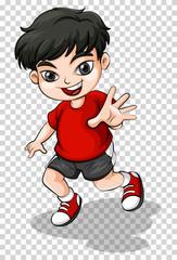Happy boy in red shirt