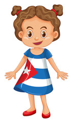 Girl wearing clothes with Cuba flag