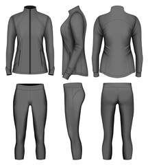 Women's sport wear for run. Vector illustration.