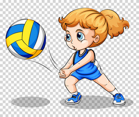 Volleyball player on transparent background