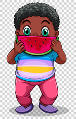 Boy eating watermelon on transparent background
