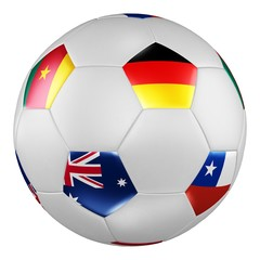 Confederations Cup 2017.  Group B. Soccer ball with flags of Germany, Australia, Chile, Cameroon on white screen. 3D rendering.