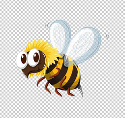 Little bee flying on transparent background