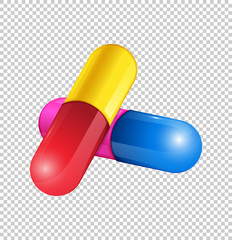 Colorful capsules on transparent background