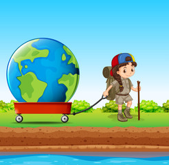 Girl pulling globe in red wagon