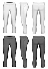 Women's compression leggings black and white variants. Vector