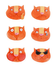 Smileys - Heads of red cats 2. Watercolor illustration. Hand drawing