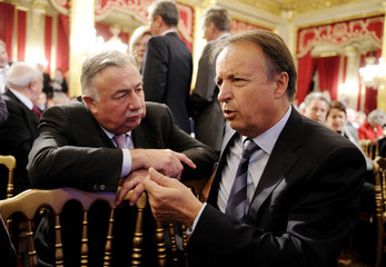 France's Speakers of the Senate Bel and Larcher talk together at the Elysee Palace in Paris