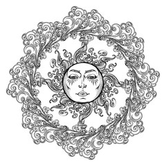 Mandala tattoo. Fairytale style sun with a human face surrounded by curly ornate clouds. Decorative element for coloring book textile prints or greeting card design. EPS10 vector illustration