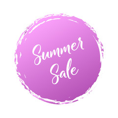 Summer Sale handwritten word with color circle brush stroke background