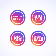 Special Offer, Big Sale, Big Offer & Special Sale Round Labels