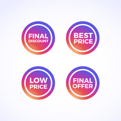 Final Discount, Best Price, Low Price & Final Offer Round Labels