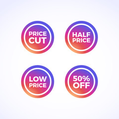 Price Cut, Half Price, Low Price & 50% Off Round Labels