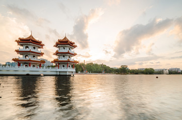 Beautiful dusk hour at Singapore Chinese Garden, a public park in Jurong East, Singapore. Designed by an architect from Taiwan, with concept based on Chinese gardening art.