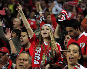 Benfica's fans celebrate their team's victory over Fenerbahce and qualification for the final after the Europa League semi-final second leg soccer match in Lisbon