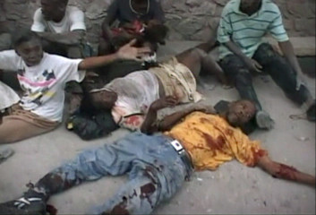 Video grab of earthquake victims lying on the ground in Port-au-Prince