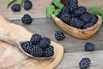 Blackberries in Wooden Spoon and Bowl