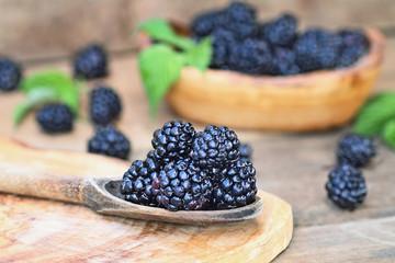 Blackberries in Wooden Spoon
