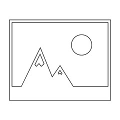 Picture of mountains and Sun icon. the black color icon .