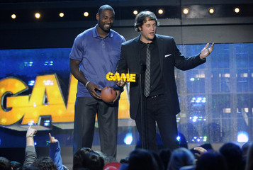 Johnson and Stafford of the Detroit Lions accept the Dynamic Duo award during the Cartoon Network's Hall of Game Awards in Santa Monica