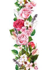 Floral border with apple, sakura flowers, cherry blossom, roses flowers and feathers. Watercolor seamless frame in boho style