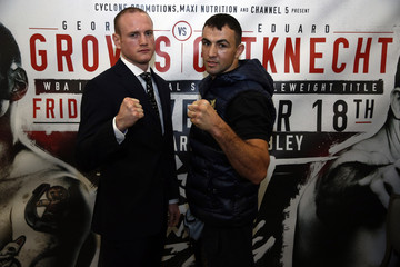George Groves and Eduard Gutknecht pose after the press conference