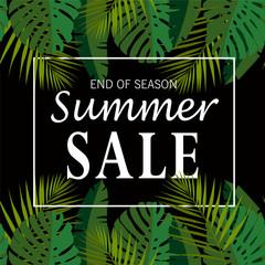 Summer sale banner, poster with palm leaves, jungle leaf. Exotic summer background.