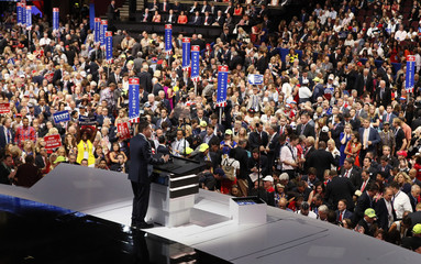 Tech entrepreneur Peter Thiel speaks at the Republican National Convention in Cleveland, Ohio