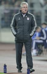 Bayern Munich's coach Heynckes reacts during his team's Champion's League Group F soccer match against BATE Borisov in Minsk's Dinamo Stadium