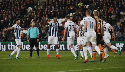 West Bromwich Albion's Gareth McAuley celebrates scoring their first goal